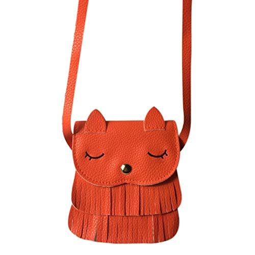 Huaheng schattig kinderen meisjes kwast kleine kat schouder Messenger tas mini muntportemonnee PU lederen handtassen portemonnee ORANJE