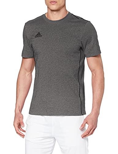 adidas CORE18 tee Camiseta de Manga Corta, Hombre, Dark Grey Heather/Black, L