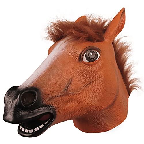 Molezu Horse Head Mask,Creepy Brown Horse Head Rubber Latex Animal Mask,Novelty Halloween Costume party (Brown)
