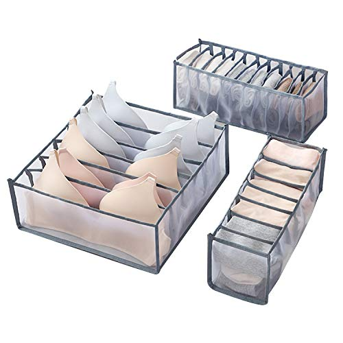 O'woda Underwear Organizer Drawer, 3 Packs Foldable Underwear Drawer Organiser Divider Storage Box Bin for Clothes, Underwear, Bras, Lingerie, Socks, Grey