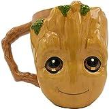 Silver Buffalo Marvel Guardians of The Galaxy Baby Groot Face 3D Sculpted Ceramic Mug, 20-Ounce, clear (GG12023D)