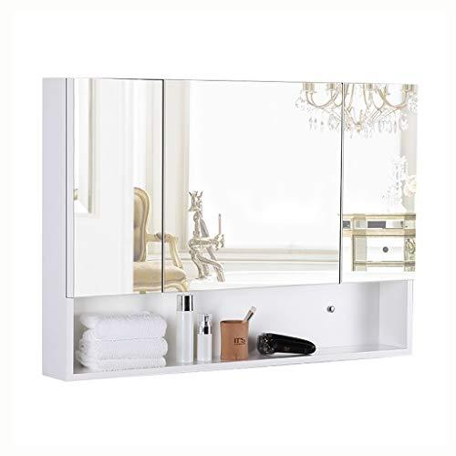 Spiegelschränke Dreitüriger Badezimmerspiegelschrank Massivholzschrank Schlafzimmer Kosmetikspiegel, Medizinschrank (Color : Weiß, Size : 90 * 70 * 13cm)