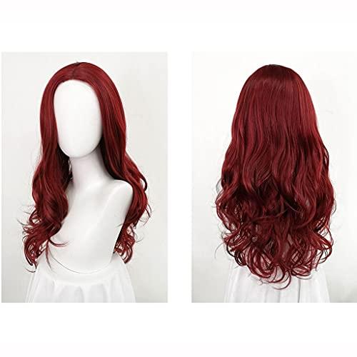 Pelucas Larga peluca ondulada para las mujeres vino rojo pelucas enteras pelucas largas pelucas de pelo rizado de 23 pulgadas Peluca natural Fluffy para el uso diario de la fiesta Decoración para el c
