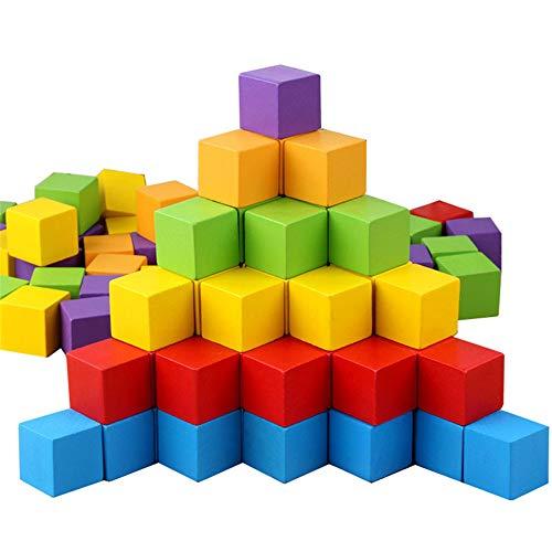 100St 3CM Rekenen Houten Kubussen Stapelen Bouwstenen Toy Kleur En Geometrische Vorm Educatief Speelgoed Voor Kinderen PL