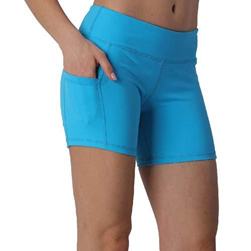 LOVESOFT - Mallas de yoga con bolsillos laterales para mujer - Azul - XL