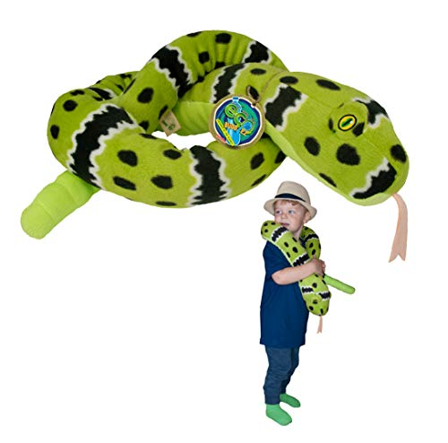 EcoBuddiez Sssnakes - Serpiente Verde de Cascabel de Deluxebase. Serpiente Peluche de 140cm. Peluches Grandes y Suaves Hechos de Botellas de plástico Reciclado. Perfecto Regalo ecológico para
