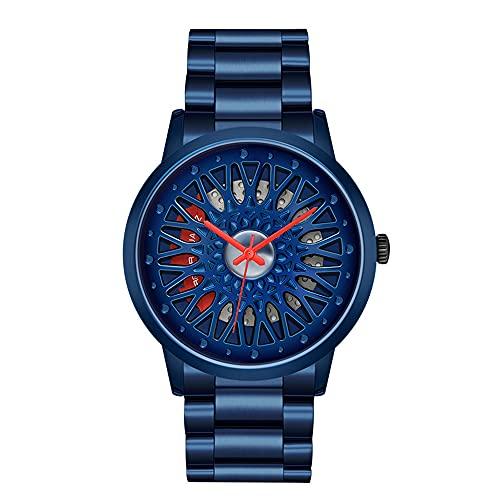 XYQC Nuevo diseño Creativo de Rueda, Reloj de Cuarzo para Hombre, Personalidad Tridimensional, Esfera Hueca, cinturón de Acero, Reloj Impermeable,Azul