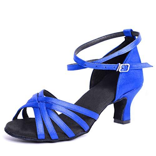 DoGeek Herren/Jungen Tanzschuhe Schwarz Standard Latin Dance Schuhe Glattleder Ballsaal (Bitte Bestellen Sie Eine Nummer grösser),Blau,41EU