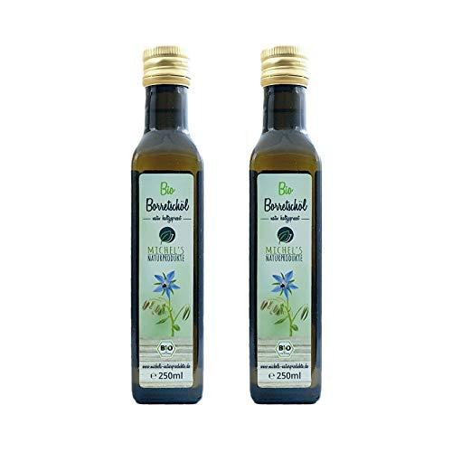 Bio Borretschöl Flasche 500ml (2x250ml) mühlenfrisch kaltgepresst aus 1. Pressung, natives Öl 100{8198df1e477e6a887e7a0b55b1a123b7ac2611a8b9f6895f0dcb5b162f92383e} naturrein