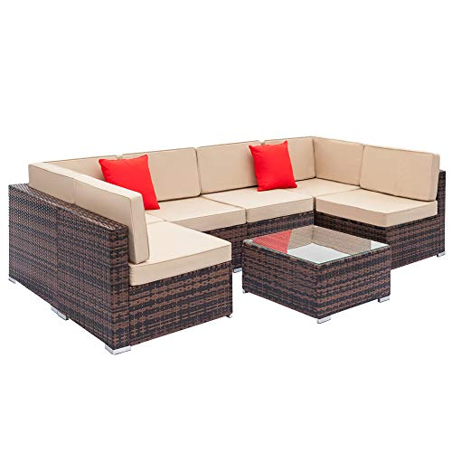 Set of 7 Garden Furniture Outdoor Patio Balcony Garden Living Room Easy Sofa Set-Including 4 Large Sofas without Armrests + 2 Corner Sofas + A Coffee Table+2 Cushion