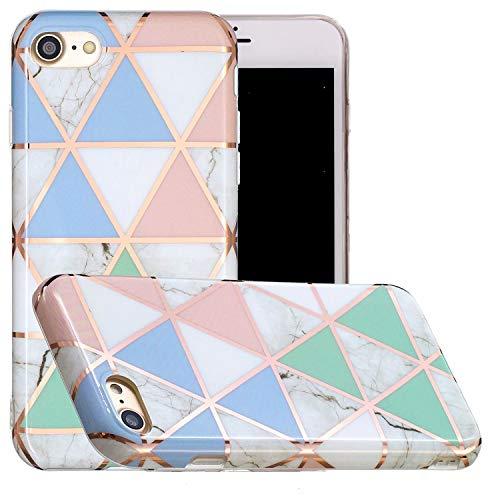 Miagon Marmo Custodia Cover per iPhone 7 8,Galvanizzato Marble Silicone Morbido Protettivo Bumper Flessibile Gel Sottile Case per Ragazza,Blu Bianca