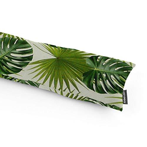 SCHÖNER LEBEN. Zugluftstopper Digitaldruck Palmen Blätter weiß grün Verschiedene Größen, Auswahl:130cm Länge