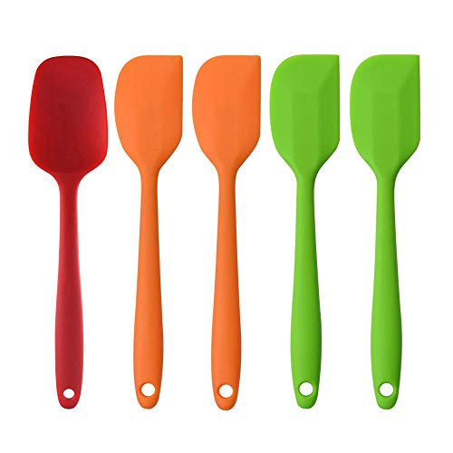 Silicone Spatula Set, 4pcs Spatulas, 1 Spoon, FYSW - Upgraded Heat Resistant, Non-stick Silicone with Steel Core for Baking, Cooking
