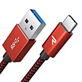 RAMPOW Braided USB C Cable 6ft, USB 3.1 Fast Charging USB Type C Cable [QC 3.0, 5Gbps], Fast Data Sync USB C Charger Cable for Samsung Galaxy S20/S10/S9/S8, LG, Sony, Moto and More - Red