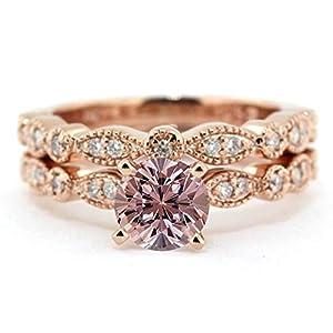1.50 Carat Round Cut Pinkish Purple Morganite and Diamond Wedding Ring Set Rose Gold