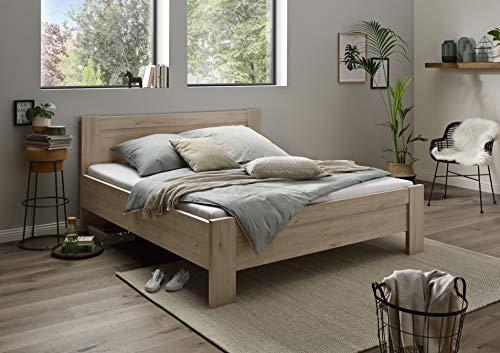 WIEMANN Athen Bett, Bettgestell 180 x 190 cm, Doppelbett, Komforthöhe, Futonbett, Holz, Eiche hell, Steineiche