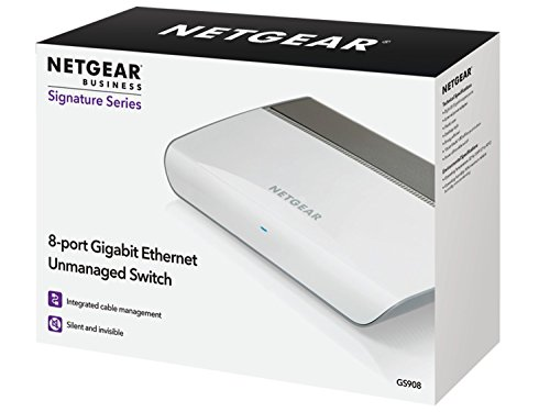 NETGEAR 8-Port Gigabit Ethernet Unmanaged Switch (GS908) – Desktop Housing with Integrated Cable Management, and Fanless…