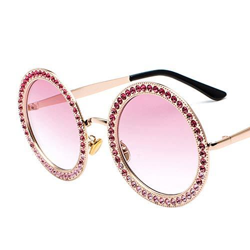 Kaper Go Nuevas Gafas De Sol Redondas De Diamante Moda Océano Película Multicolor Gafas Calle Beat Gafas De Sol (Color : Pink)