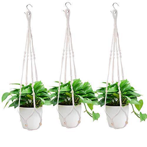 Macetero de macramé para Plantas Decorativos Interior y Exterior Soporte para Plantas Colgantes Blanco 3pc, 85 cm