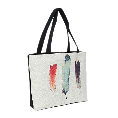 Bolsa de Playa 46 x 32 x 10 cm Motivo Plumas Color Natural-Yute Shopper Bolsa de Hombro...