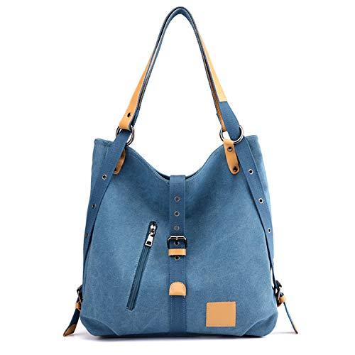 LUI SUI 3 Möglichkeiten, Vintage Lady Handtasche Rucksack Rucksack Umhängetasche Leinwand große Tasche für Frauen Arbeit Schule Einkaufen Reisen und Alltag