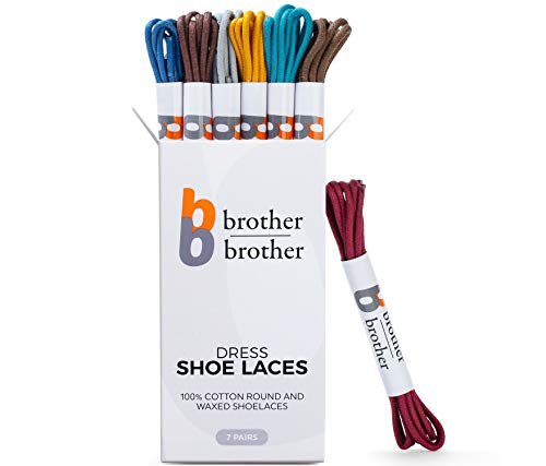 BB BROTHER BROTHER Colored Oxford Shoe Laces (7 Pairs) 100% Cotton Round and Waxed Shoelaces for Dress Shoes | Gift Box with Burgundy  Blue  Brown  Gray  Mustard  Lt Blue  Chocolate Shoe Strings