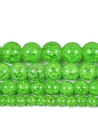 Cuentas de cristal agrietadas naturales de color verde oliva y nieve, 6, 8, 10, 12 mm, redondas, espaciadoras sueltas, para hacer joyas, pulseras de 15 pulgadas, verde oliva, 8 mm aprox. 46 cuentas