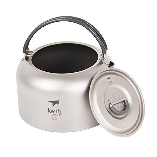 Keith Ti3901 Wasserkocher aus Titan, 1,0 l, für Camping, Picknick, Kochgeschirr, Kaffee, Tee, Wasserkanne