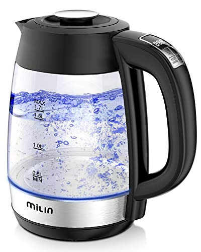 Electric Kettle, MILIN 1500W Water Boiler with Temperature Control, LED Screen 1.7L 8 Cups Electric...