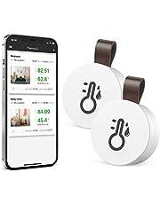 Brifit 2 Piezas Termómetro Higrómetro Bluetooth, Termómetro Inalámbrico Digital, Sensor de Humedad de Temperatura Interior Preciso y Sensible, Termometro Digital para Casa, Garaje, Invernadero