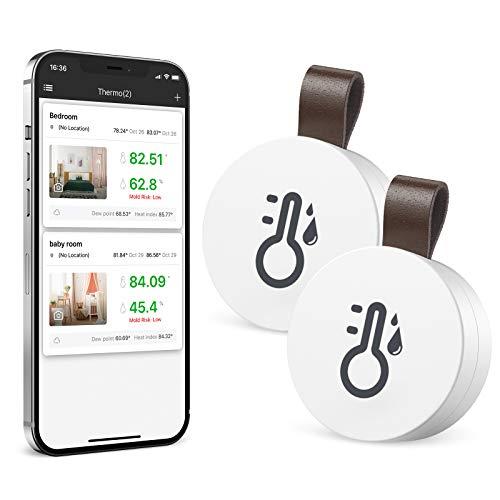 Brifit Termometro Igrometro Bluetooth, 2 Pezzi Termometro Ambiente Interno, Sensore di Monitoraggio della Temperatura Termometro, Igrometro Digitale per Casa Ufficio, Adatto per iOS Android