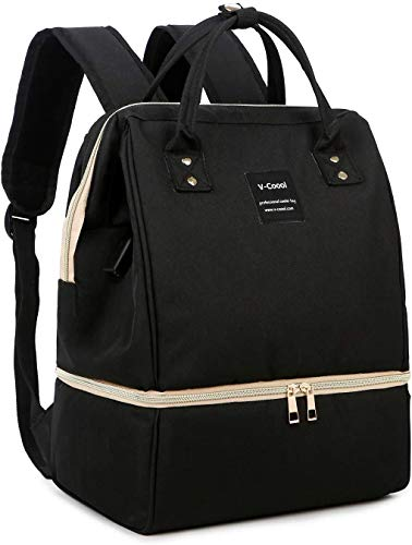 MYWILON 2 en 1 Mochila cambiador para bebé y mamá – Duo sacaleches y bolsa isotérmica para comidas – Bolsa de picnic refrigeradora con puerto de carga USB (negro)