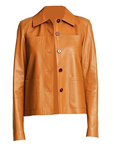 TIPTOP Vertina - Chaqueta de piel auténtica para mujer, estilo camisa, color negro, rojo, gris, marrón