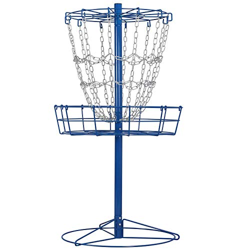 YAHEETECH Portable Disc Golf Basket 12-Chain Practice Target Steel Hole Disc Golf Goals Catcher, Blue