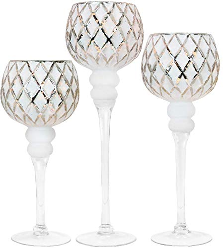 Elegant Silver and White Glass Tealight Holders for Weddings