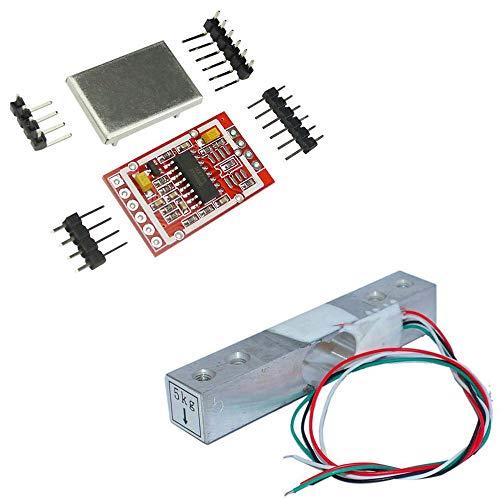 Aihasd 5KG Cella di carico Digitale Sensore di Peso Scala di Cucina Elettronica Portatile + HX711 AD Sensori Modulo di pesatura Scudo di Metallo per Arduino