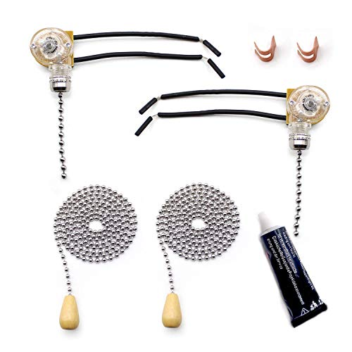 ARTISAN-SH 2 Sätze Zugkette Schnurschalter,Schalter für Deckenventilatoren Wandleuchten mit 2 Meter Verlängerungskabel,Silber