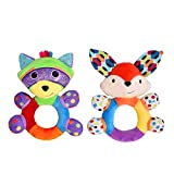 HAHA Baby Teething Rattle Toys, Infant Girl Boy Learning Toy Newborn Soft Handbell Grab Shaker Crinkle Squeaky Sensory Travel Accessories for 0 3 6 9 12 Months Old