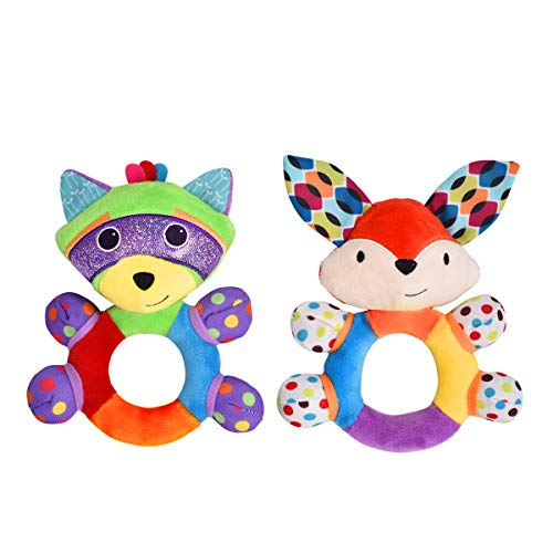 HAHA Baby Teething Rattle Toys Infant Girl Boy Learning Toy Newborn Soft Handbell Grab Shaker Crinkle Squeaky Sensory Travel Accessories for 0 3 6 9 12 Months Old