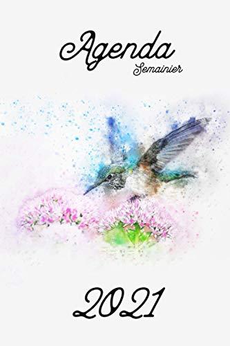 Agenda semainier - agenda polyvalent - original: Colibri d'Elena -oiseau - une semaine par page + une page de note