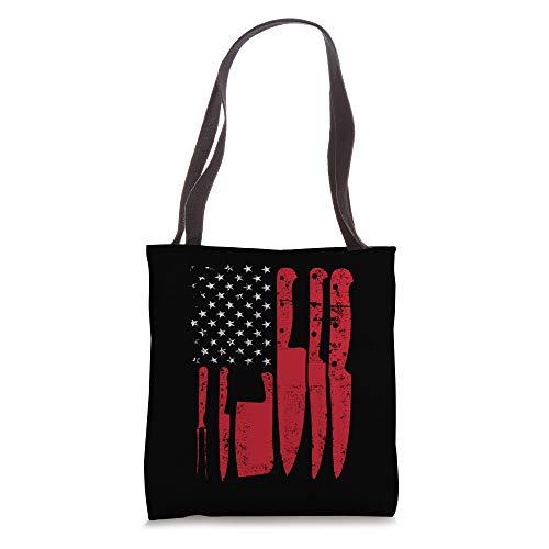 American Flag Kitchen Butcher Knife Set Tote Bag
