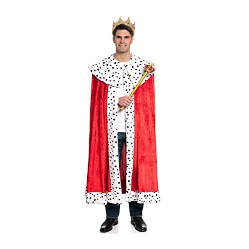 Kostümplanet Königs-Kostüm Herren Umhang mit Fellrand Mantel Erwachsene rot