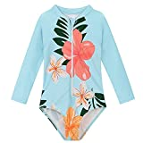 Baby Girl Swimsuit One Piece Bathing Suits for Girls Long Sleeve Toddler Girl Rash Guard Swimwear 4-5 Years Blue Floral