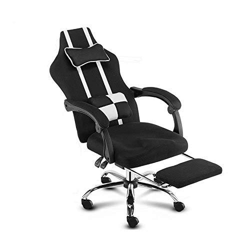 Sillas Gaming Reposapies, Silla de Oficina de reclinación de ergonomía con reposapiés elevando el sillón de la casa rotativa con reposacabezas y Soporte Lumbar sillas de jardín