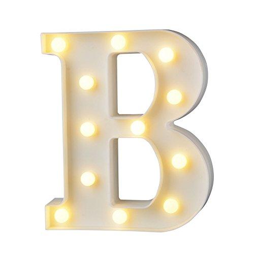belupai Letras LED con luces del alfabeto para decoración de carpa con luces para fiestas, bodas, recepciones, casas de vacaciones y baño, decoración de bar de novia (B)