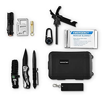 Adventure Thirsty Survival Gear Kit 11 in 1-Survival Tools- Folding Knife, Emergency Blanket, Tactical Pen, Paracord Bracelet, Tactical Flashlight, Saber Card Knife, Camping Flint, and More from from Adventure Thirsty