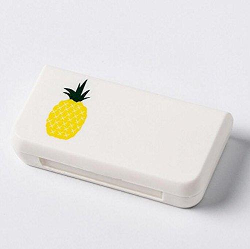 Peino - Estuche para pastillas, portátil, ovalado, con 3 ranuras para dispensador de pastillas de drogas, polipropileno, As Shown(pineapple), 6.6x3.4x1.4cm