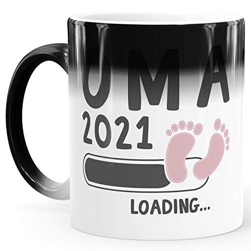 MoonWorks® Kaffee-Tasse Oma 2020 loading Thermoeffekt Zaubertasse Geschenk-Tasse für werdende Oma Bekanntgabe Ankündigung Schwangerschaft Geburt Baby weiß-rosa Magic-Tasse