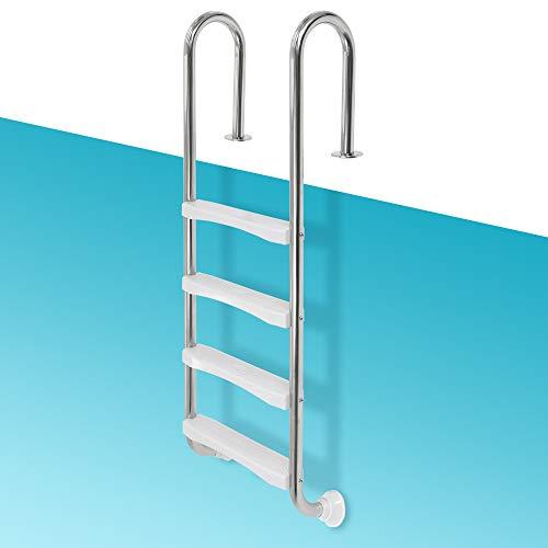 ECD Germany V2A Edelstahl Poolleiter mit 4 Stufen, 26,5x54x155 cm, runde Handläufe, Silber, Schwimmbadleiter mit Antirutschpads für Pool und Schwimmbecken, Edelstahlleiter Leiter mit Rutschsicherung
