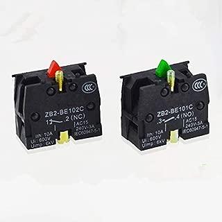 10pcs XB2 Contact Block Telemecanique ZB2-BE101C Normal Open NO ZB2-BE102C NC Pushbutton Joystick Switch Replaces TELE 10A 600V - (Color: NO)